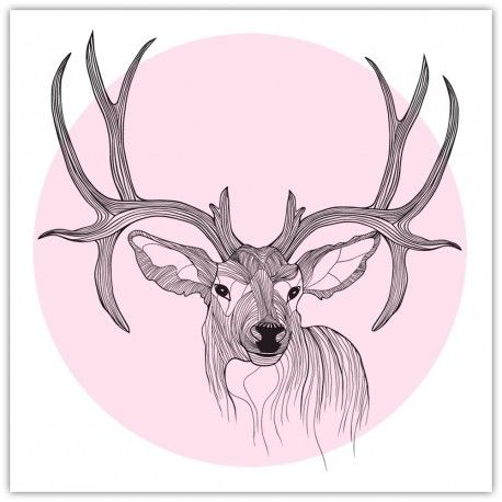 Gorgeous Deer Woodland Art Print in soft pastel pink - a perfect nursery wall art piece. Available in a range of sizes as poster, or canvas art.