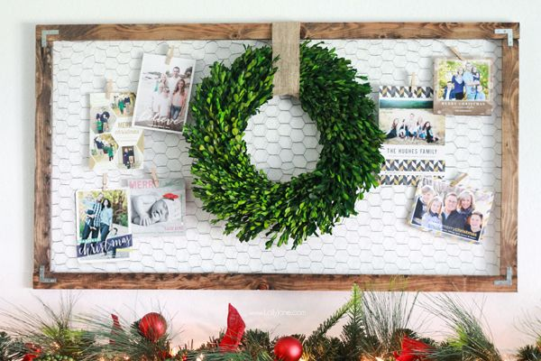 This Christmas season, DIY your card display board with a rustic approach. Use chicken wire and some plywood to create a frame, and top with a boxwood wreath for the finishing touch. Get the tutorial at Lolly Jane.