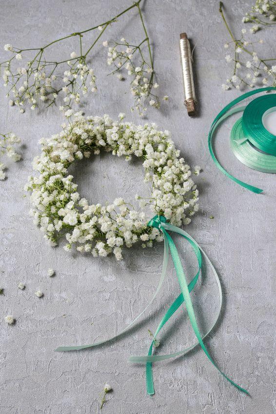 DIY Kranz aus Schleierkraut selber machen - Hochzeit Haarschmuck Blumenkranz Haarkranz
