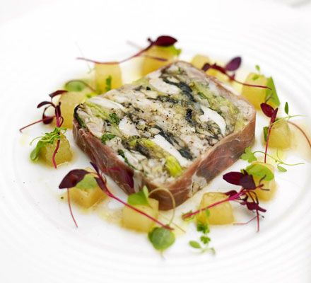 Prosciutto-wrapped chicken & leek terrine substitute apricots and almonds for mushrooms?