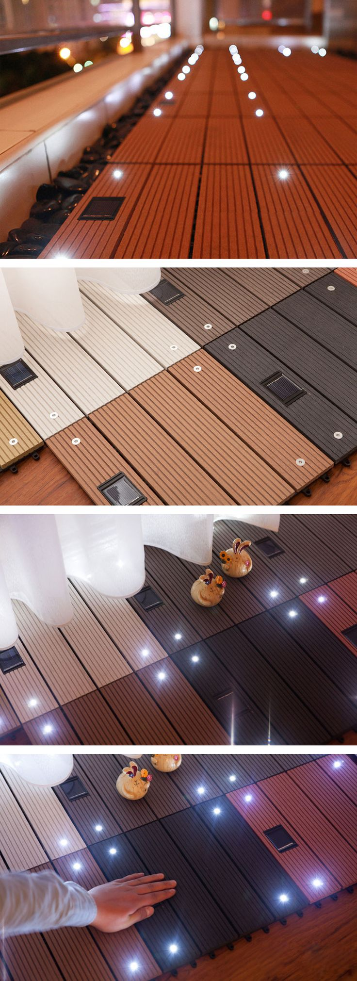 Wood Plastic Composite Flooring with Solar Light Outdoor Garden Balcony Interlocking Decking Tile
