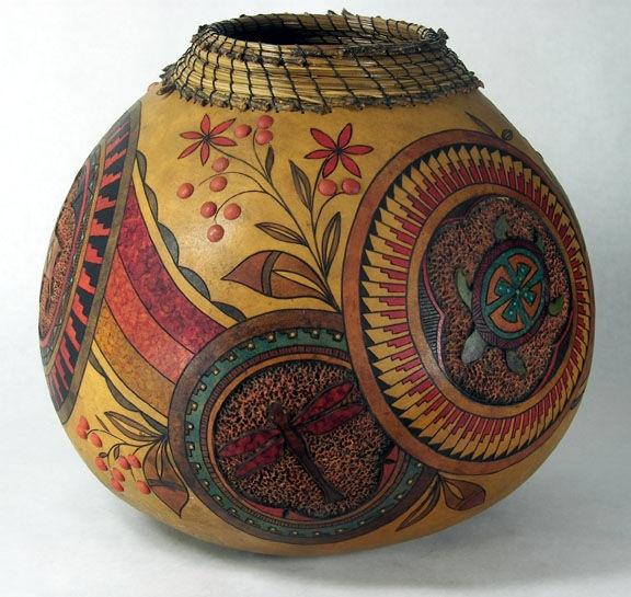 Friends of the Pueblo, Judy Richie  Medium: Gourd