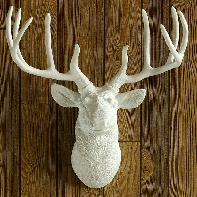 Декоративная голова оленя - белый, скульптура, олень, декор для интерьера, подарок девушке, рога, handmade