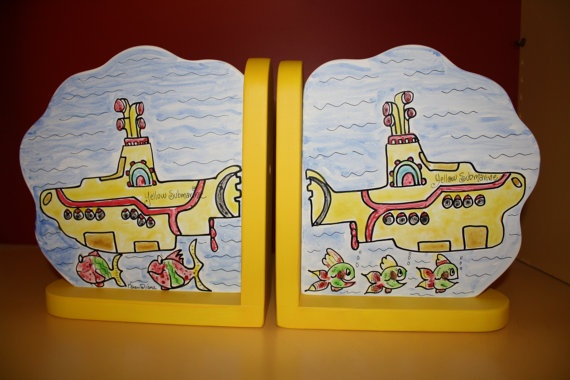 Handpainted Bookends Childrens Bookends Yellow by KeepsakesForever, $36.00