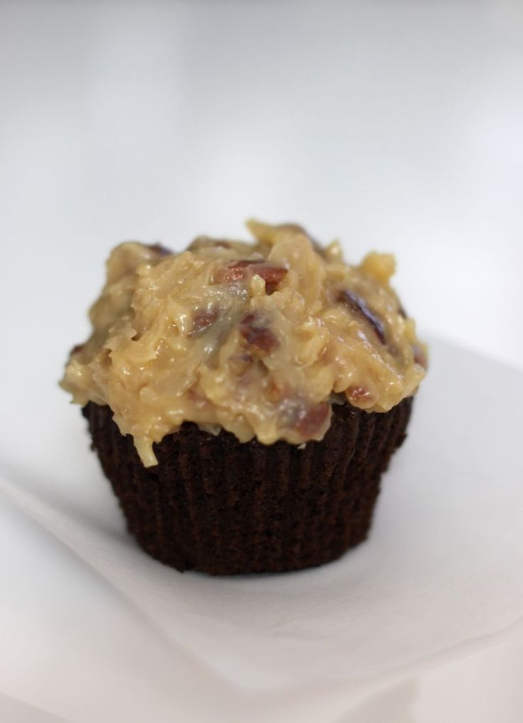 German Chocolate Cupcakes with coconut pecan frosting - Urban Comfort adapted from Rose Levy Beranbaum