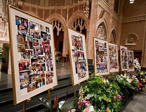 Vraag iedereen een foto mee te nemen en maak een fotocollage op de begrafenis of crematie | Vind meer inspiratie over decoratie & DIY voor het afscheid en de uitvaart op http://www.rememberme.nl/rouwbloemen-rouwdecoratie/