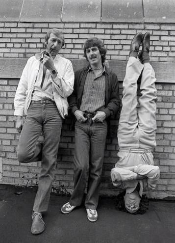 Graham Chapman, George Harrison (I'm not sure who that is upside down.)