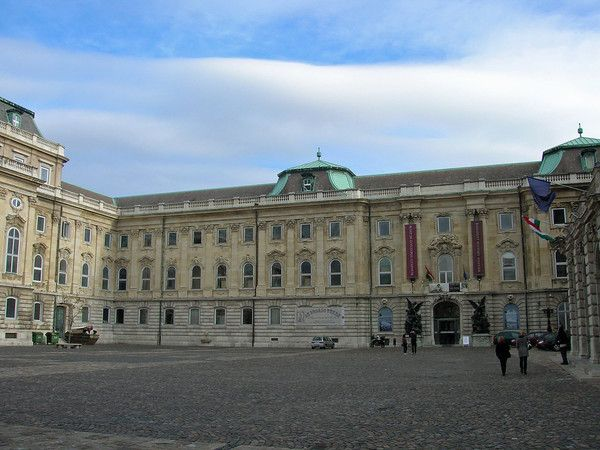 The courtyard of the Hungarian Royal Palace / Buda Castle on Castle Hill in Budapest, Hungary.