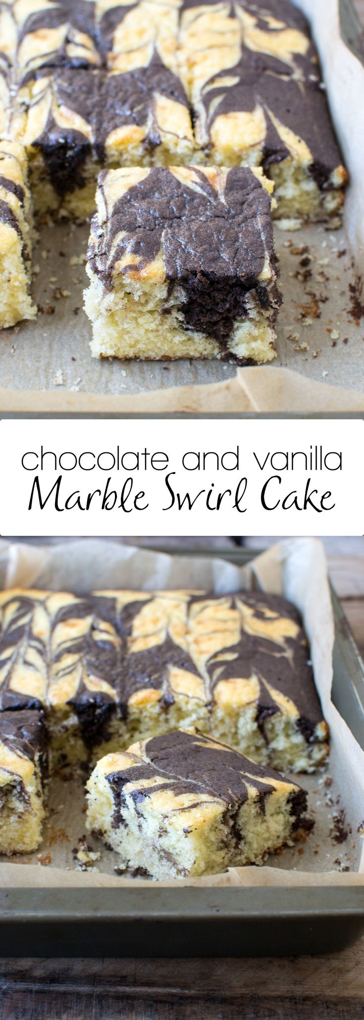 Easy chocolate and vanilla marble swirl cake! Just one bowl is needed to whip up this delicious dessert!