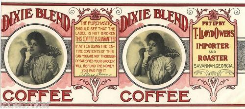 Tin can label vintage coffee rare dixie georgia large | Vintage coffee