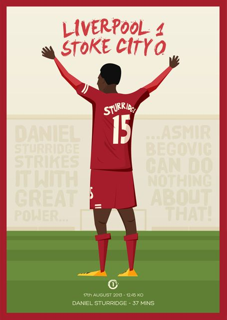 LFC Postcard Series 2013/14 by Dave Williams, Liverpool vs Stoke City