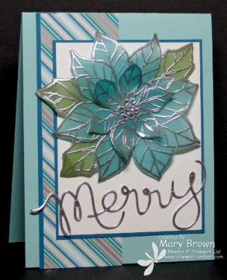 Stampin' Up! ... handmade Christmas card from stampercamper.com ... stained glass technique  ... vellum used for poinsettia with silver embossing and coloring from the bac ... pretty card in silvers and aquas  ...