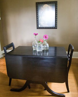 Get Mom & Dad's Duncan Phyfe table refinished in a beautiful, dark stain.