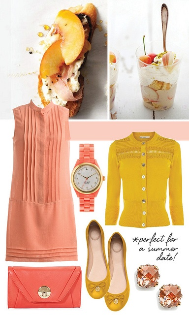 want the clutch and watch!: Color Combos, Clutches, Color Blocks, Wear Peaches, Apricot, The Dresses, Peach Dresses, Peaches Dresses, Color Color