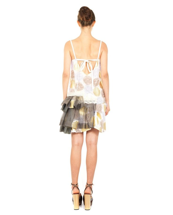 ANTONIO MARRAS SHORT DRESS WITH FRILL S/S 2016 Multicolor short dress front and back low-cut neckline with shoulder straps frilled skirt decorated with small pearls and stones back lace closure 56% SE 17% PL 13% PA 13% CO 1% EA