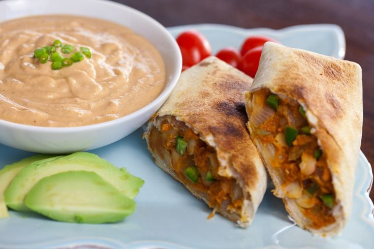 Vegan Baked Pumpkin Chimichangas with Chipotle Cream Sauce