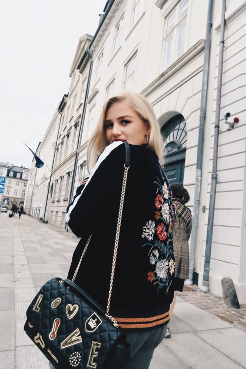 Streets of Copenhagen, embroidered jacket and moschino purse