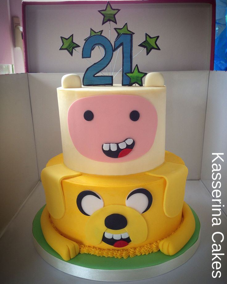 Adventure Time cake by Kasserina Cakes of Sussex.  Love Finn and Jake!