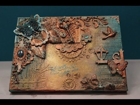 Mixed Media Tutorial Vintage Türkis Gold - YouTube