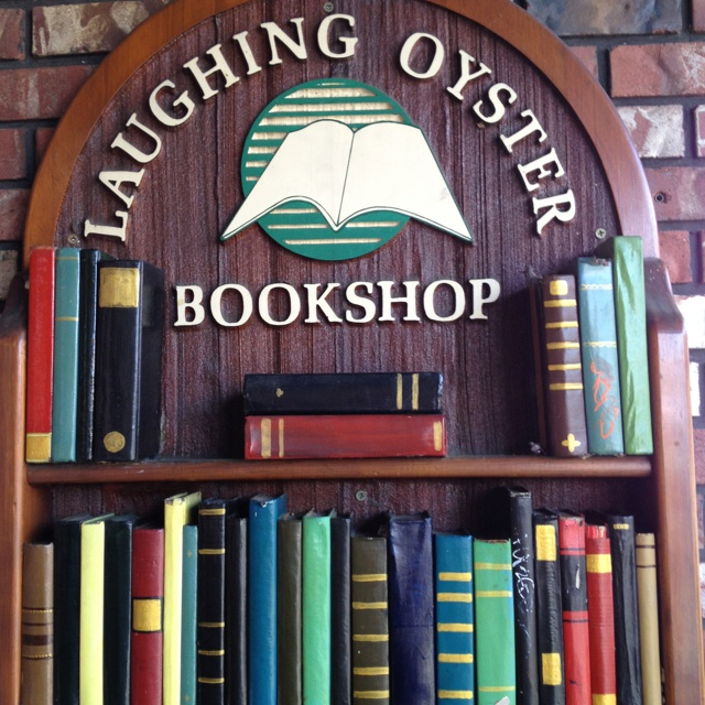 Shop sign of Laughing Oyster Bookshop in Courtenay, B.C.