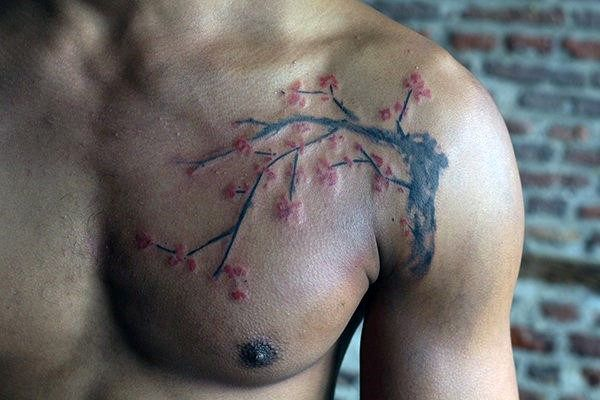 Watercolor Cherry Blossom Tree Mens Chest Tattoos
