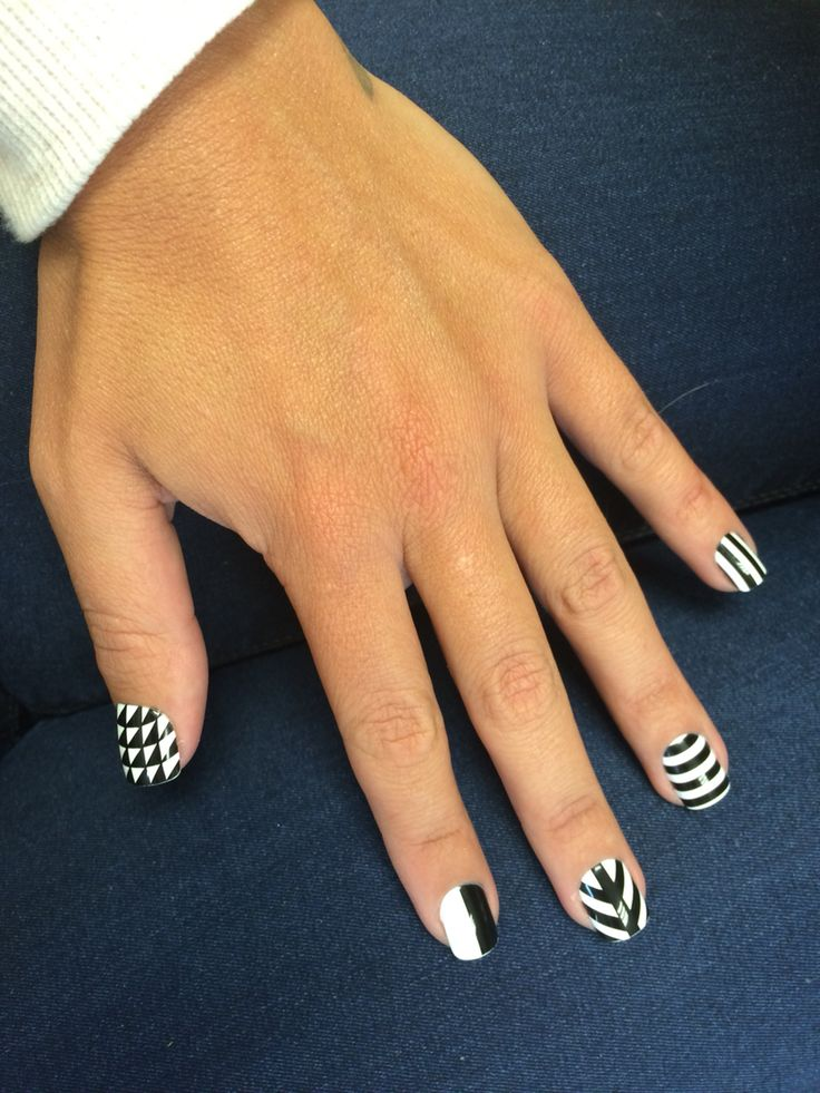 Funky black and white nails