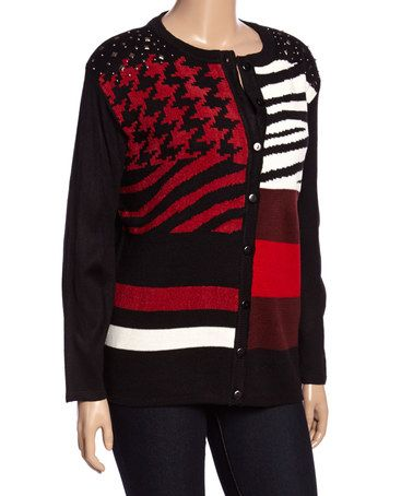 Love this Black & Red Mixed-Print Cardigan - Plus on #zulily! #zulilyfinds