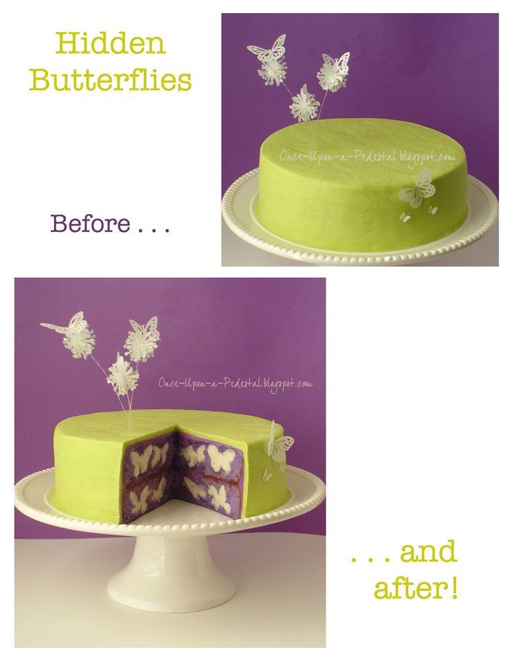 Butterflies inside cake
