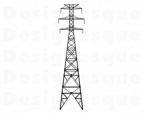 Transmission Tower 2 Svg Electricity Svg Power Lines Svg Etsy Transmission Tower Svg Electricity