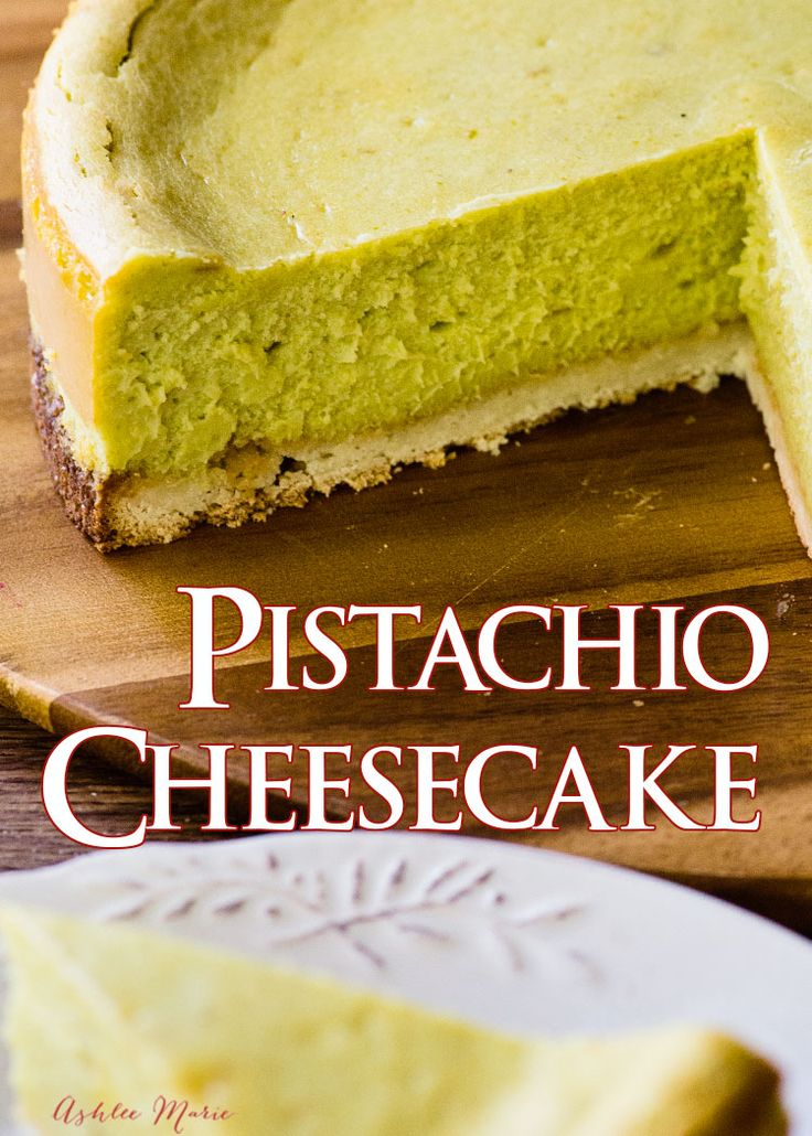a creamy and delicious pistachio cheesecake made with real nuts and over a coconut macaroon crust