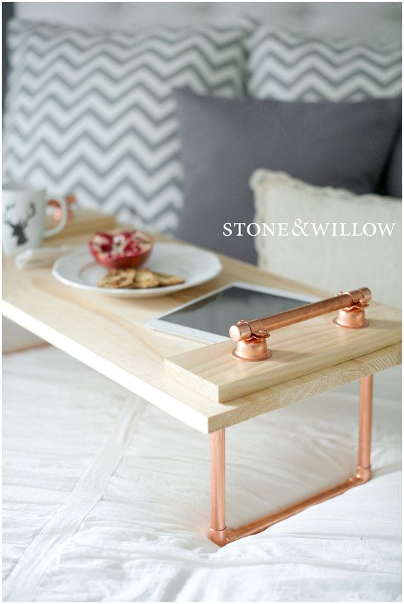 Copper Pipe Tray Breakfast/Laptop Tray Pine by StoneAndWillow on Etsy $149