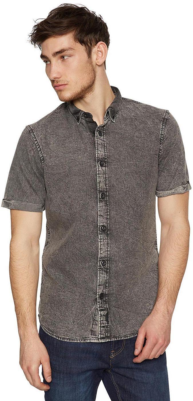 Jeans-Hemd für Männer (gemustert, kurzärmlig mit Button-Down-Kragen) aus Denim, mit Auswaschung für den Used-Look, mit Moonwash oder kleinem Ananas-Print, mit fixierten Roll-Ups. Material: 100 % Baumwolle...
