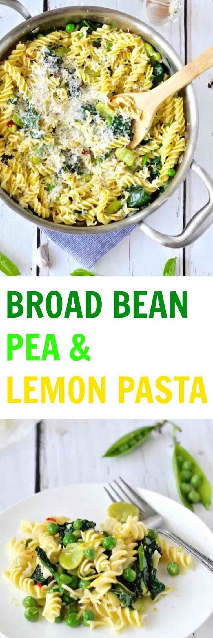 This BROAD BEAN, PEA & LEMON PASTA with chilli and garlic is a super quick and easy 15 minute meal. Summer in a bowl! | Plus Ate Six