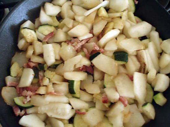 La meilleure recette de Poelée patisson-courgette! L'essayer, c'est l'adopter! 5.0/5 (2 votes), 2 Commentaires. Ingrédients: 1 petit patisson, 2 petites courgette, 1 oignon, 100g de lardons fumés, 2 cuill. à s d'huile d'olive, sel et poivre, thym.