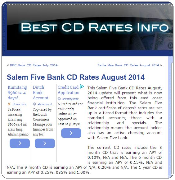 The Banker: Salem Five Bank CD Rates August 2014