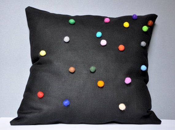 Black Linen Pillow Case With Colorful Felt Balls by tuliManna, $35.00