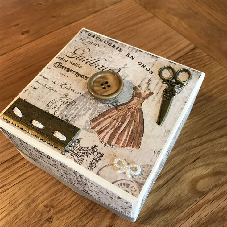 Vintage style sewing box with brass scissors & ruler trim, wooden button & pearls
