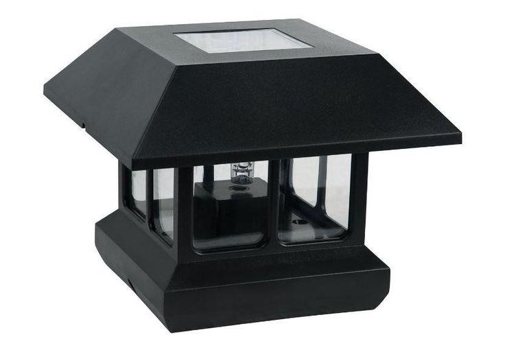 Outdoor Lamp Post Solar Light Fixture Deck Garden Lighting 4-Pack Black Plastic…