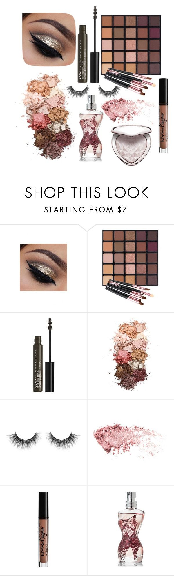 """Tan"" by patton-is-my-baby ❤ liked on Polyvore featuring NYX, Sigma, Charlotte Russe, Jean-Paul Gaultier and Too Faced Cosmetics"