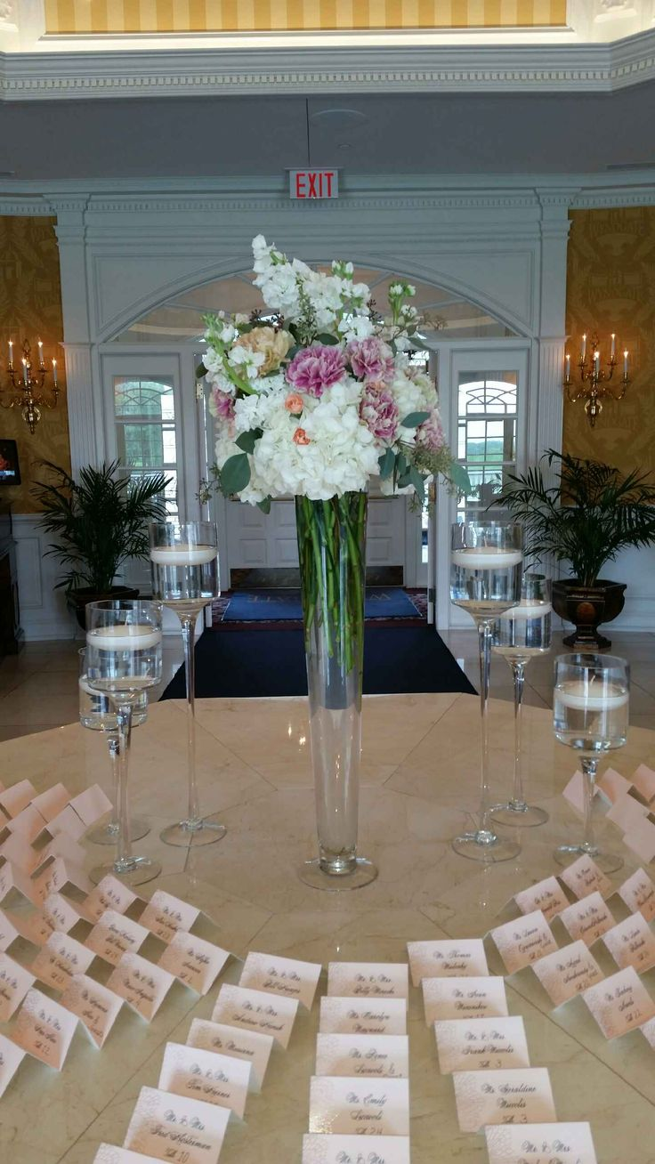 48 best centerpieces by flowers of the forest images on pinterest centerpieces by flowers of the forest tall pilsner vase arrangement with hydrangeas eucalyptus reviewsmspy