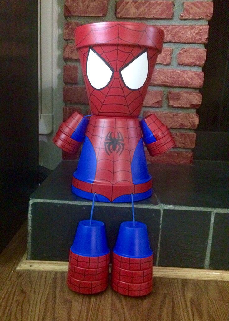 DIY Terra Cotta Pot Person~ Spider-Man