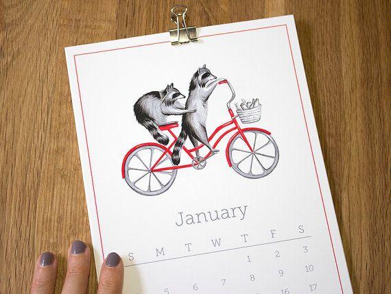 2015 Calendar Animals on wheels animals on bike by AmelieLegault