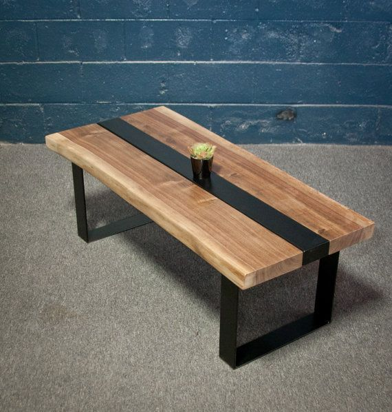 Vintage Industrial Live Edge Walnut Slab Coffee Table: JULY SALE Black Walnut Wood Live Edge COFFEE Table By