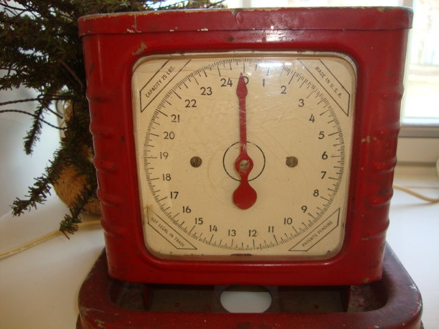 vintage metal industrial scale in wonderful red... great farm house decor. $65.00, via Etsy.