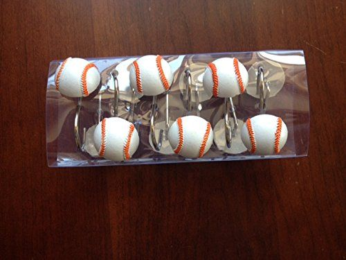 Bath Baseball Shower Curtain Hooks Brand New 12 Pcs