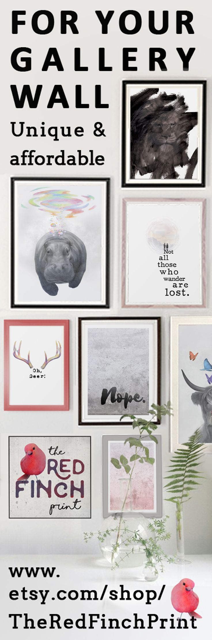 For Your Gallery Wall. Fresh ideas and original art prints: printable wall art, drawings, photos and designs - perfect to instantly decorate rooms, offices and desks. Print at home art - all files are in high resolution.
