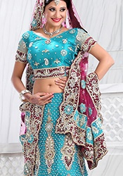 Fish Cut Turquoise Blue Net Lehenga Choli