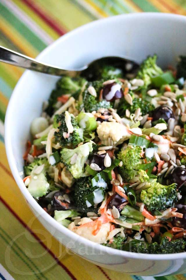 Broccoli Cauliflower Carrot Salad with Greek Yogurt Honey Dressing Recipe - Jeanette's Healthy Living