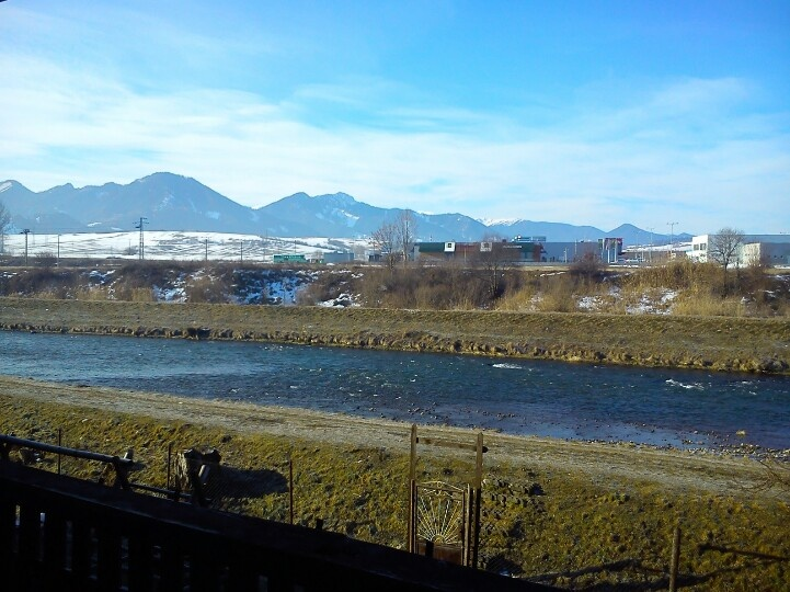 Vah River, view from Janka Kral'a street. Liptovsky Mikulas, SK