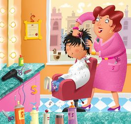 A funny poem from @thefuneverse.  The Day My Mum Left Me Alone At The Hairdressers by Lesley Moss. Image by Mike Brownlow. A funny poem for kids about bad haircuts.